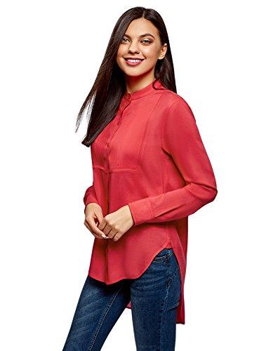 Oodji ultra donna camicetta in viscosa con dorso lungo, rosa, it 42 / eu 38 / s