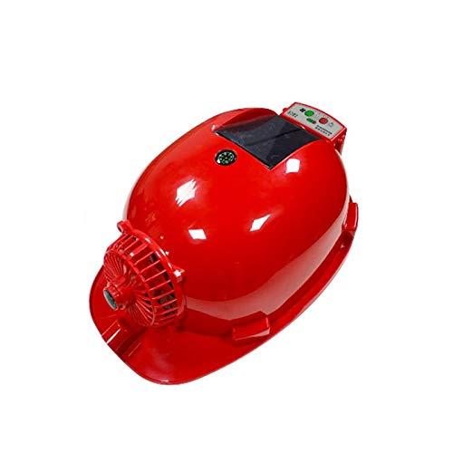 ChenCheng Schutzhelm - Baustelle Doppel-Netzteil Solar Fan Hut Anti-Milben-Beleuchtung Fabrikbau Schutzhelm Outdoor Equipment (Color : Red, Size : Strengthen 6000 mAh)
