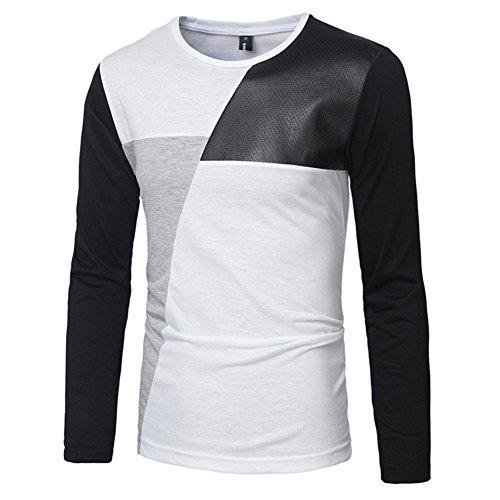 BOMOVO Herren Spleiß Langarmshirt mit Rundhals-Ausschnitt in verschiedenen Farben Weiß