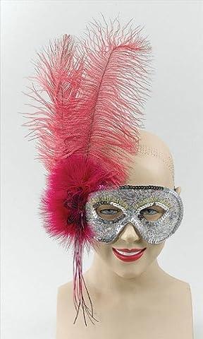 Ostrich Feather Fuschia Mask