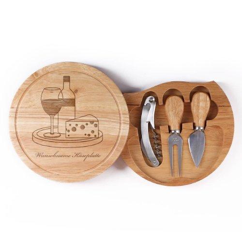 Cera & Toys® 4-teiliges Käsebrett Set mit Gravur - Platte mit Besteck - Motiv: Wein und Käse