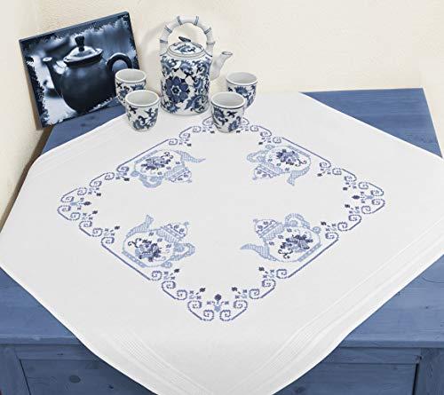 KAMACA Stickpackung Tischdecke TEEKANNE Kreuzstich vorgezeichnet aus Baumwolle Stickset mit Stickvorlage (Mitteldecke 80x80 cm)