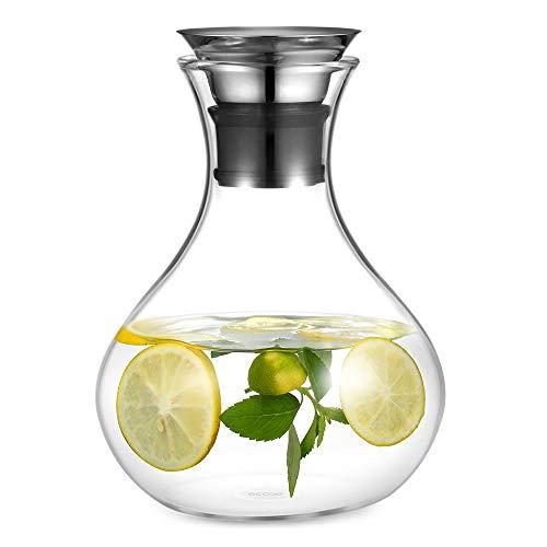 Ecooe Glaskrug 1.5L Liter Glaskaraffe Wasserkrug mit Edelstahl Deckel Karaffe Glaskanne