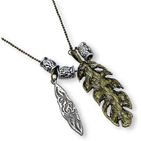 Collar Amuleto Largo con Dijes de Plumas - Surtido en Bolsita de Regalo