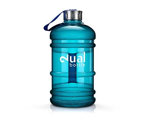 Dual Bottle / Water Jug / 2.2 Liter / Wasserflasche / Trinkflasche / Perfekt für den täglichen Wasserbedarf / Ideal für Training, Fitness und Sport / Wasser-flasche / Gallon / Water Gallon / Wasser Gallone / Wasser Gallon / Optimale Wasserdosis über den Tag hinweg (Blau)