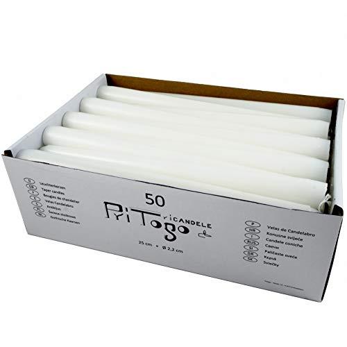 Pritogo Leuchterkerzen/Halterkerzen/Spitzkerze weiß [50 Stück] Ø 2,2 + 25 cm, Rußfrei, Brenndauer: 8 Stunden, Tropfarm
