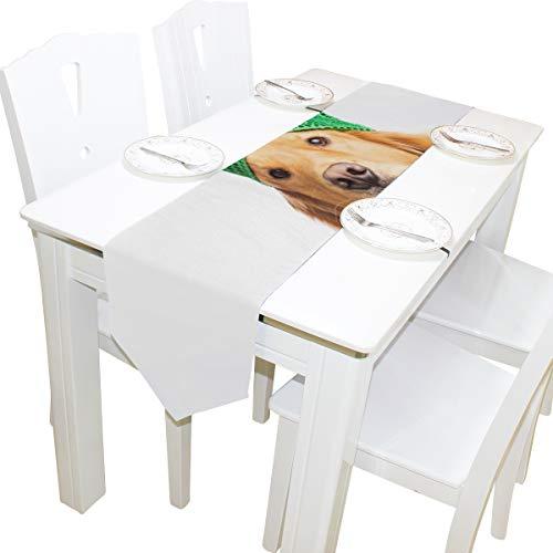 Yushg Nette Happy Dog Wear Tie Dresser Schal Tuch Abdeckung Tischläufer Tischdecke Tischset Küche Esszimmer Wohnzimmer Home Hochzeitsbankett Decor Indoor 13x90 Zoll (Hofnarr Kostüm Hunde)