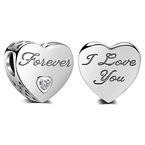 I Love You Forever Charm argent sterling 925authentique Perles Pandora et tous les européens à breloques Bracelets et colliers