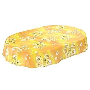 ANRO Wachstuchtischdecke Wachstuch Wachstischdecke Tischdecke Kamille Gelb Blumen Sonne Oval 200x140cm, Schnittkante, 140 x 200cm