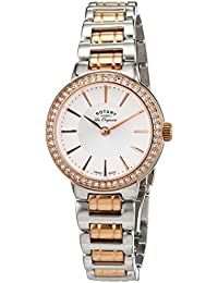 Rotary Women's Quartz White Dial Analogue Display and Rose Gold Plated Silver Stainless Steel Bracelet LB90083/02