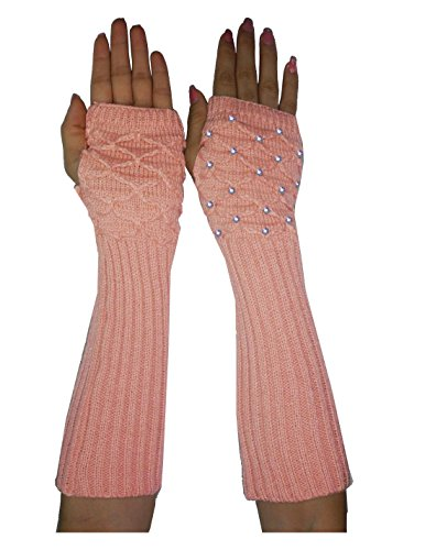Womens Winter Long Ribbed Cable Knit Fingerless Gloves with Rhinestones one size Pink (Knit Pink Cable)