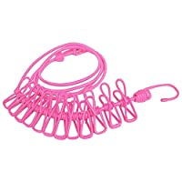 BINGONE Clothesline Portable Elastic Windproof Cloth Line with 12pcs Clips for Indoor & Outdoor Laundry Drying Pink