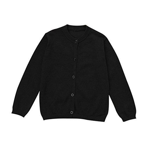 erthome Kleinkind Kid Jungen Mädchen Kleidung Gestrickte Pullover Strickjacke Mantel Tops (Schwarz, 6-12 Monate)