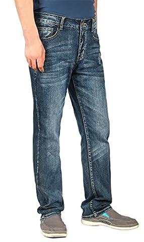 iLoveSIA Mens Jeans Straight Leg Mid-Rise Denim Pants Classic Blue