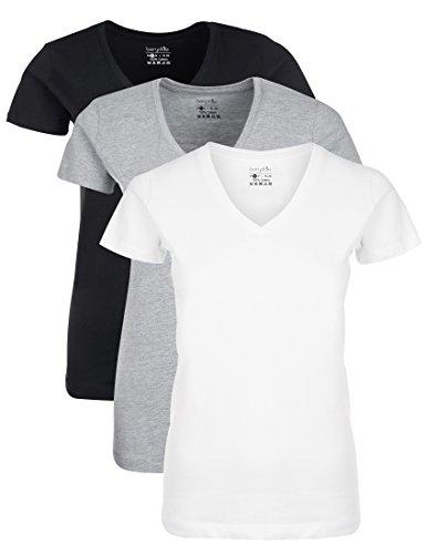 Berydale Damen T-Shirt mit V-Ausschnitt, 3er Pack, Schwarz/Weiß/Grau, M