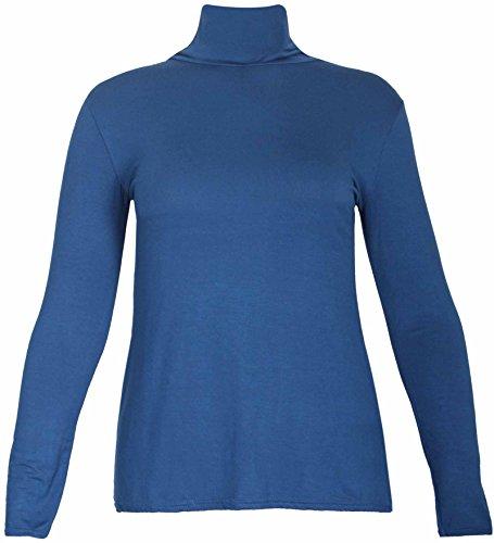 Nuovo da donna effetto tartaruga Polo collo elasticizzato Top da donna a maniche lunghe Everyday T-Shirt Tops le misure Plus Teal