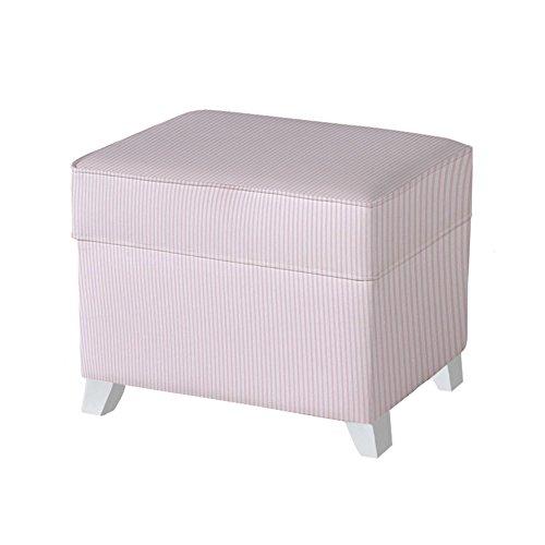 Micuna Puff - Arcón con tapizado tela, diseño rayas, color rosa