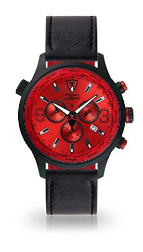 DETOMASO AURINO Montre pour Hommes Chronographe Chronographe Analogique Quartz Noir Bracelet en Cuir Noir Cadran Rouge DT1061-B-899