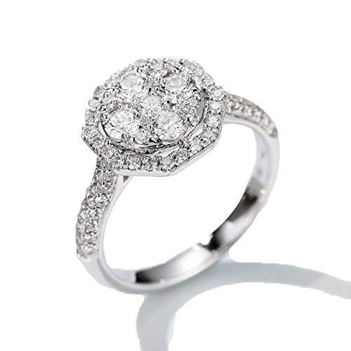 1.06 cttw Diamond Ring, 18k White Gold Diamond Cushion Engagement Wedding Ring Set mit Diamond Shoulders,21(19.2mm)