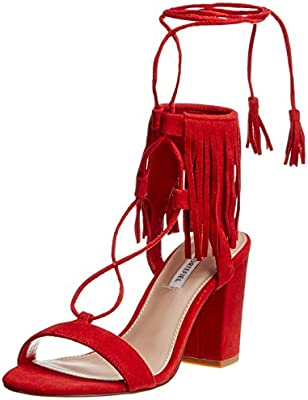 Cortefiel Heeled Fringes Sandal, Sandalias para Mujer