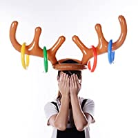 Sansee Inflatable Reindeer Christmas Hat Antler Ring Toss Holiday Party Game Toys (Brown)
