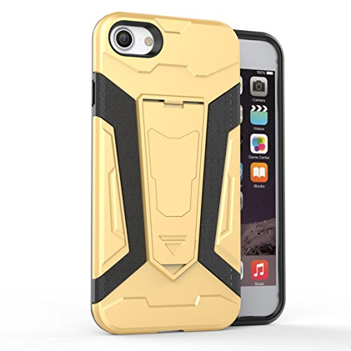 Apple iPhone 7 Plus 5.5 Hülle, Voguecase 2 in 1 Case Hybrid Hülle Bumper Hart PC Case Tasche Schutzhülle Handyhülle mit TPU Rückseite Cover (Armored Halterung-Grau) + Gratis Universal Eingabestift Armored Halterung-Gold