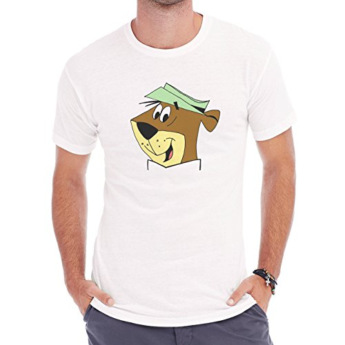 Yogi Bear Cartoon Animal Head Green Hat Herren T-Shirt Weiß