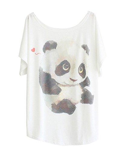 """Luna et Margarita Donna bianca manica a pipistrello modello T-shirt """"Panda progettato"""" girocollo formato misto cotone 50 52"""