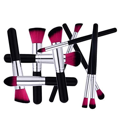 pennelli make up 10 pezzi set di pennelli per trucco fondotinta cipria crème liquido professionali pennelli per volto ombretti e sopracciglio pennelli per il trucco (red) (red)