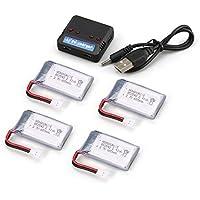 Ironheel 4pcs 3.7V 650mAh Batería + 4 en 1 Cargador USB para Syma X5 X5c X5SC X5SW MJX X705C RC Drone Quadcopter de Piezas de Repuesto de batería
