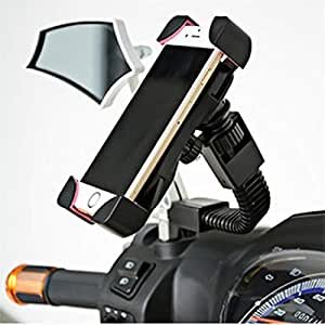 SPYKART Universal Motorcycle 360 Degree Mirror Stand Rotating Bike Mobile Holder for All Android Devices Upto 7 Inches (Black)
