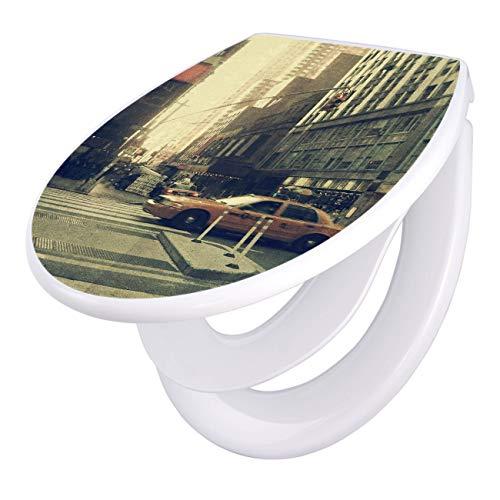 banjado Familien WC Sitz mit Absenkautomatik | Toilettendeckel mit Kindersitz | Klodeckel weiß | Toilettensitz mit Soft Close | 44 x 37 cm WC Deckel mit Motiv Broadway