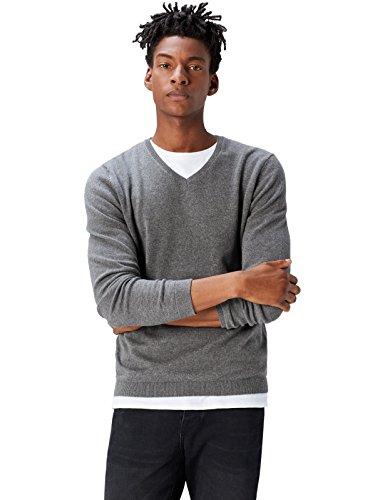 FIND Herren Strickpullover mit V-Ausschnitt, Grau (Charcoal Grey Marl), Large