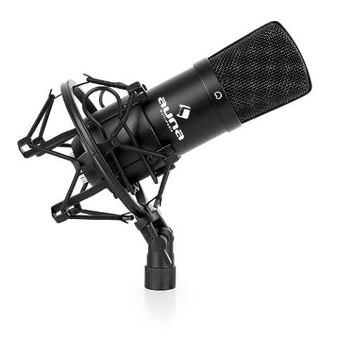 auna CM001B Mikrofon • professionelles Studiomikrofon • Kondensatormikrofon • ausgeprägte Nierencharakteristik • 32 mm Kapsel mit Goldmembranen • Frequenzbereich: 20 Hz - 20 kHz • inklusive Mikrofonspinne, Windschutz und Schutztasche • schwarz