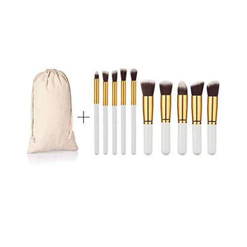 MuSheng(TM) Pinceaux set ( 1 * sac ) + 10pcs / 1set poudre cosmétique pinceau de maquillage pinceaux ensemble fondation... (Blanc+Or)
