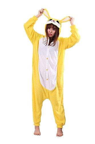 URVIP Jumpsuit Tier Cartoon Fasching Halloween Kostüm Sleepsuit Cosplay Fleece-Overall Pyjama Erwachsene Unisex Schlafanzug Tier Onesie mit Kapuze Gelb Hase Large