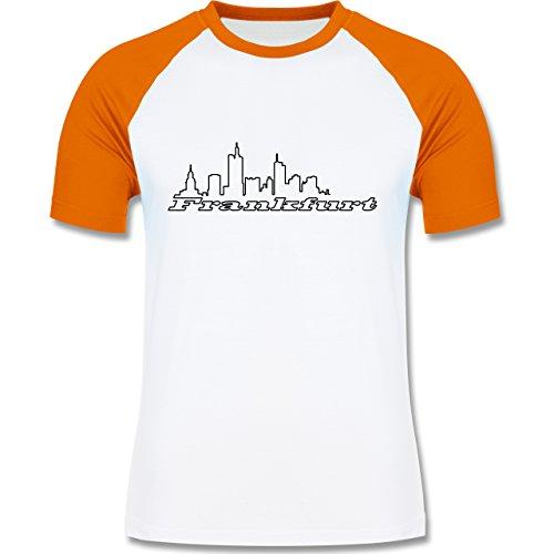 Skyline - Frankfurt Skyline - zweifarbiges Baseballshirt für Männer Weiß/Orange