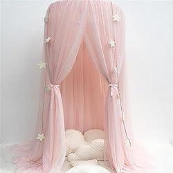 Dosel para camas infantiles, mosquitera de hilo de algodón redonda, para interior, tipo princesa, para cama o habitación, para jugar o leer, como decoración o protección ante insectos, altura 240 cm, diámetro de la cúpula 60 cm rosa rosa