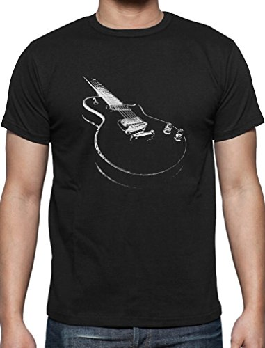 Geschenk für alle Musikfans mit E-Gitarre - Motiv T-Shirt Schwarz