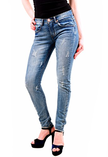 One Teaspoon Donna Distressed Hoodlums Jeans Blu