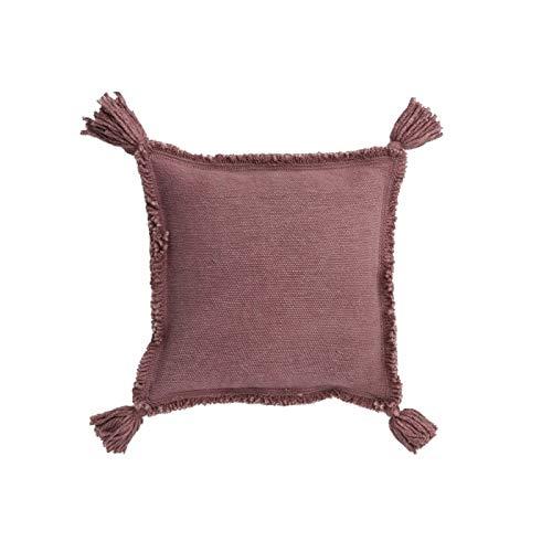 Coussin à pompon en coton rose nude 45x45 - Oasis Orient - Miami Beach