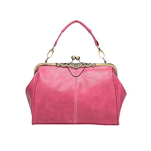tianranrt Vintage Frauen PU Leder Retro Umhängetasche Schultertasche Handtasche Messenger Wickeltasche Casual Tote Handtasche grün 29cm(L)*11cm(W)*21cm(H) rose