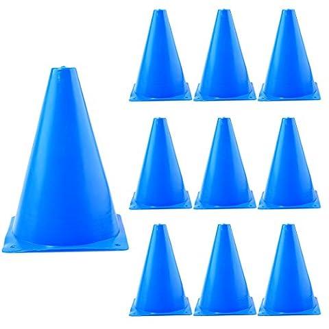 Football Sécurité Cones, iTECHOR 10Pcs 7pouces Cone Terrain de sport Cones de formation pour les enfants et les adultes - bleu