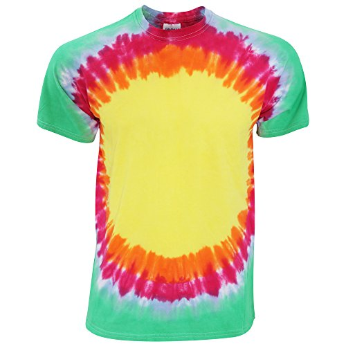 Colortone - Camiseta psicodélica modelo Arcoíris/resplandor solar de manga corta para adultos Unisex 100% Algodón- Verano (Extra Grande (XL)/Arcoíris)