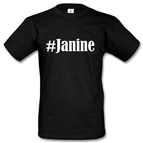 T-Shirt #Janine Hashtag Raute für Damen Herren und Kinder ... in den Farben Schwarz und Weiss Schwarz