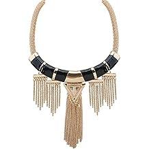 Adisaer Collar Mujeres Aleación de metal Gargantilla Cristal Collier Zirconia Cadena Negro Oro Casado