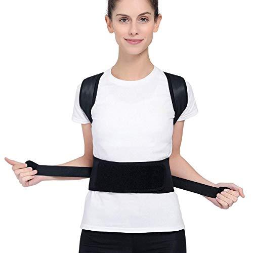 Lameffort Rückenhaltung Korrektor Schulterbandage, atmungsaktiv Trainer einstellbar gerade Körperhaltung Korrektor, reduzieren Rücken, Schulter und Nackenschmerzen für Frauen, Männer, Kinder (L)