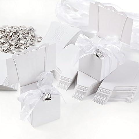 50x Boîte à dragées forme chaise 4x4x10cm + étiquette marque place + ruban + coeur argenté pr