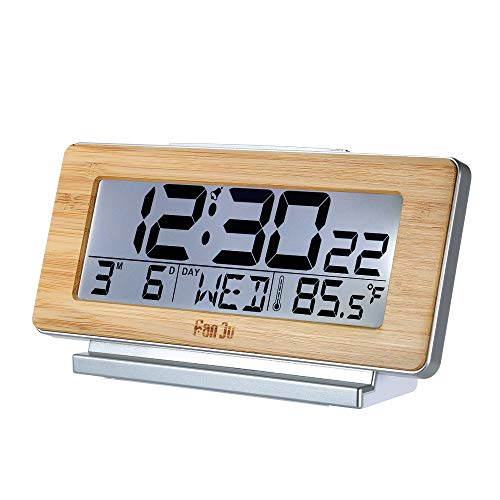 Galapara FanJu Digital Despertador Operado por batería Bambú Digital LCD Reloj Despertador Termómetro...