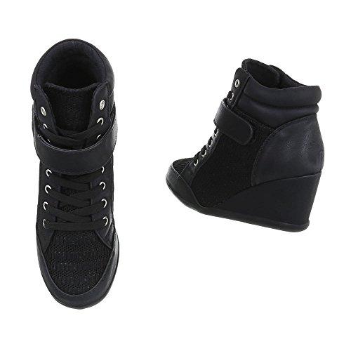 Scarpe da donna Sneaker zeppa Sneakers high Ital-Design nero 876-Y